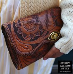 Tooled Leather Clutch.
