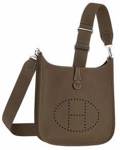 f627fd77617c Hermes Evelyn cross body bag in grey leather. Front View. #Hermeshandbags  Handbags Australia