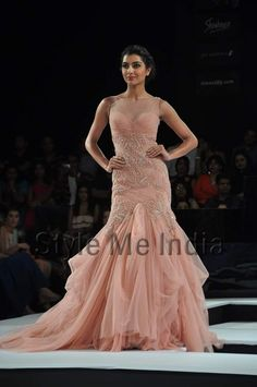 Gown with Indian Embroidery by Shantanu & Nikhil at BPFT 2012 in Mumbai