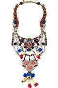 ERICKSON BEAMON Tribal Patchwork gold-plated Swarovski crystal bib necklace