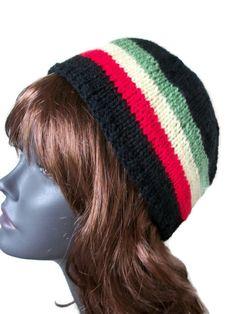 Rasta Skull Cap, Rasta Hat Rasta beanie, Jamaican Hat, Hand Knit womens hat by thekittensmittensuk on Etsy Double Knitting, Hand Knitting, Bare Foot Sandals, Hats For Women, Your Hair, Skull, Beanie, Cap, Etsy