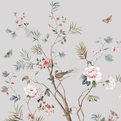 Wallpaper Mural Tricks: How to Choose and Install Chinoiserie Wallpaper, Bird Wallpaper, Beach Wallpaper, Pattern Wallpaper, Illustrations And Posters, Chinese Art, Flower Prints, Backdrops, Decoration
