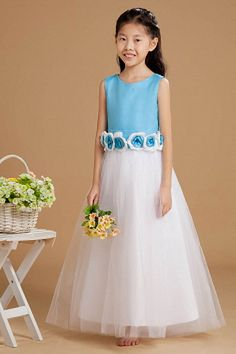 Tulle Blue White Ball Gown Flower Girl Dresses ted1131 - SILHOUETTE: Ball Gown; FABRIC: Tulle; EMBELLISHMENTS: Bowknot , Flower , Ruched; LENGTH: Floor Length - Price: 63.7900 - Link: http://www.theeveningdresses.com/tulle-blue-white-ball-gown-flower-girl-dresses-ted1131.html