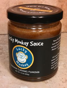 LUCKY MONKEY SAUCE, caramel and cinnamon goodness, made in Portland, Oregon (O / USA)
