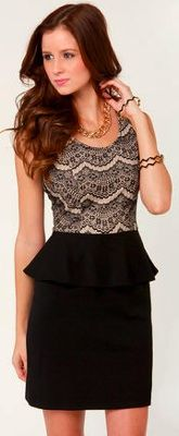 Why not rock this black lace peplum dress for your next night out? Pair with nude heels and a gold necklace.