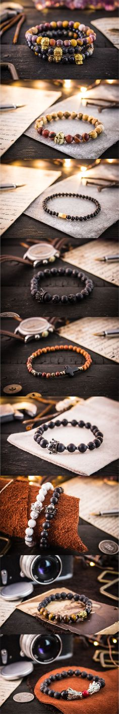 NEW collection of gemstone bracelets is available! Click on the picture to see the whole line up!  #strapsandbracelets #mensbracelet