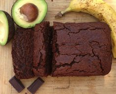 Vegan GF Chocolate Avocado Banana Bread (I used 3 bananas, replaced the oil by apple sauce, replaced the honey by 1/4 cup date syrup & used less dark chocolate + unsweetened cacao powder).