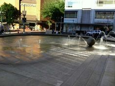 Director Park - kids can play in the fountain #Portland #PDX