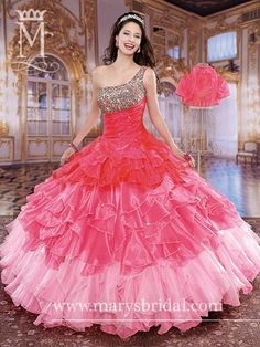One-shoulder, organza ball gown with pleated bodice, basque waist, ruffle skirt, metallic embroidery, beads and sequins with lace-up back and bolero