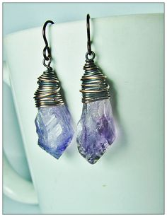 Raw Amethyst Crystal Earrings by GeishaCreations on Etsy