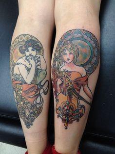 Nice leg tattoos by Dia Moeller.