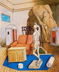 Furniture and rocks in a room - 1973  Giorgio de Chirico