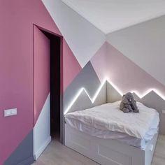 Bedroom Paint Design, Bedroom Wall Designs, Bedroom Wall Colors, Accent Wall Bedroom, Bedroom Decor, Small Room Design, Home Room Design, Home Interior Design, Room Wall Painting