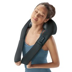 Brookstone has this and it's better than the ones you hang on chairs or the heavy ones you hold. You hold the massager in place with your hands but it does not take much effort and you can control the pressure placed on the neck, shoulder or back.
