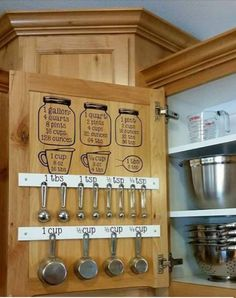 Fun conversion chart and storage for measuring cups. Kitchen storage