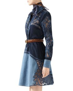 Gucci Contrast Denim Dress With Broderie Anglaise Detail Denim Fashion, Love Fashion, Womens Fashion, Fashion Tips, Fashion Design, Color Fashion, Gucci Denim, Mode Jeans, Denim Ideas