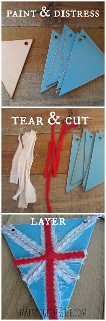 modern wooden Union Jack inspired bunting ... tutorial at shakentogetherlife.com