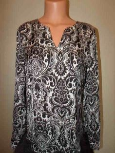 Ann Taylor Size XS Black & White Paisley Adjustable Sleeve Tunic Blouse LN…