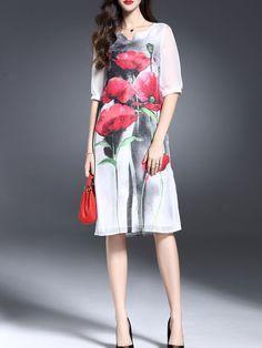 Floral-print Linen Silk Midi Dress by Y&M via StyleWe
