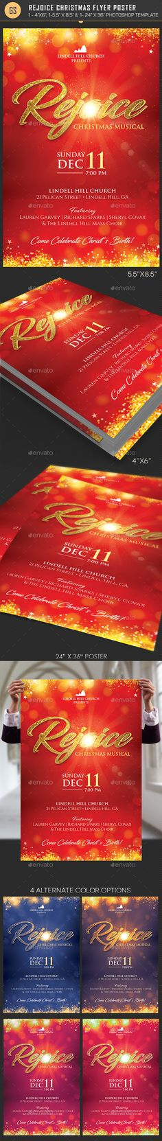 Rejoice Christmas Flyer Poster Template - Flyers Print Templates