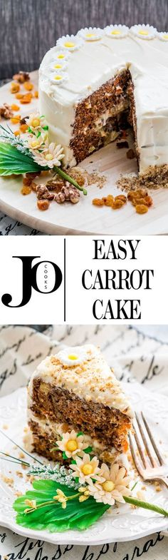 This carrot cake is perfectly moist, sweet and loaded with carrots, raisins, walnuts and pineapple, then topped with a delicious, delicate and easy to make cream cheese frosting.