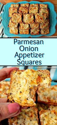 Whenever I serve these Parmesan Onion Appetizer Squares, they're always a hit! T… Whenever I serve these Parmesan Onion Appetizer Squares, they're always a hit! They have a light onion flavor, crispy yet creamy texture, and a tiny and unexpected touch of Easy To Make Appetizers, Light Appetizers, Finger Food Appetizers, Yummy Appetizers, Appetizers For Party, Finger Foods, Appetizer Recipes, Appetizer Ideas, Appetizer Dessert