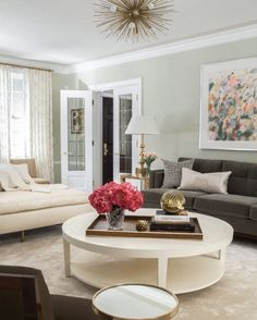 A variety of comfy seating oversized table fabulous accents and attention to detail (those doors!)  this living room design by @sblonginteriors #designinspiration #decor #design #interior #interiordesign #sofa #home #homedecor #homedesign #style #livingroom #livingroomdecor #coffeetable #contemporary #transitional #modern #art #lightfixture #frenchdoors #chaise #gold by homedecorstyle http://discoverdmci.com