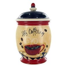 Nostalgic Coffee Biscotti Jar | Shop Hobby Lobby..I'm going to take the top off and use it as a utensil holder will go perfect with my coffee kitchen. $20