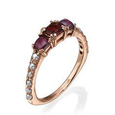 Garnet Jewelry, Garnet Rings, Garnet Stone, Red Garnet, Gold Pearl Ring, June Birth Stone, Delicate Rings, Boho Rings, Beautiful Rings