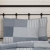 Farmhouse Blocked Quilts Sawyer Mill Blue Patchwork Shams Bed Skirts – Jam - Discount Home Decor Striped Bedding, Ticking Stripe, Farmhouse Style Bedrooms, Blue Quilts, Quilted Pillow, Blue Pillows, Pillow Shams, Chambray, Vintage Farmhouse