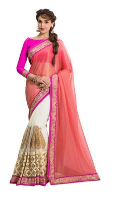 Fancy White & Peach Coloured Designer Saree