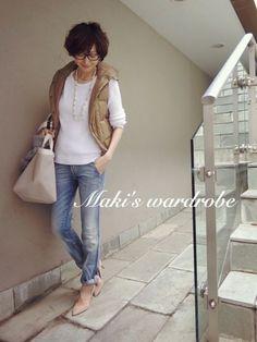 Maki's wardrobe|田丸麻紀オフィシャルブログ Powered by Ameba Denim Fashion, Fashion Pants, Love Fashion, Fashion Outfits, Womens Fashion, Casual Fall Outfits, Chic Outfits, Trendy Outfits, Casual Chic