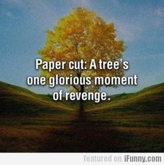 Paper Cut: A Trees One Glorious Moment Of Revenge