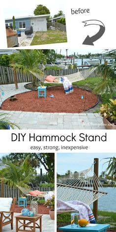 ~ Tutorial on how to build a hammock stand from posts. This is an easy strong and inexpensive hammock stand