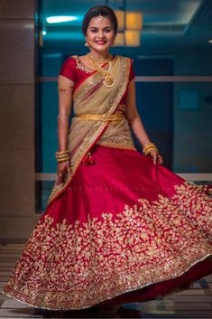 Let's discuss traditional dress which has been in highlight for quite a sometime, which is Half Saree and see some of the trending designs in half sarees. Lehenga Choli Wedding, Lehenga Saree Design, Half Saree Lehenga, Lehnga Dress, Indian Bridal Lehenga, Lehenga Designs, Saree Blouse Designs, Indian Gowns Dresses, Indian Fashion Dresses