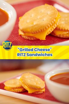 """Melt everyone's heart with this appetizing """"grilled cheese"""" treat. With ooey-gooey cheese and your favorite cracker at the helm, this bite-sized goody will have you wanting more. Appetizers For Party, Appetizer Recipes, Snack Recipes, Cooking Recipes, Snacks To Make, Easy Snacks, Food To Make, Savory Snacks, Ritz Cracker Recipes"""