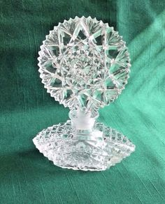 Vtg Morlee Art Deco Cut Glass Crystal Perfume Bottle w Ornate Snowflake Top | eBay