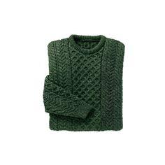 Merino Wool Aran Sweater Dark Green ($75) ❤ liked on Polyvore