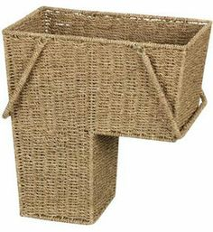 This Seagrass Wicker Stair Basket is a uniquely designed storage basket shaped to fit along the side of a staircase to store mail books and other items that need to be brought up or down the stairs. Featuring durable construction from woven seagrass this wicker stair basket eliminates dangerous clutter on stairs and th
