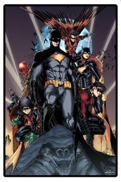 Batman, Nightwing, Batgirl, Red Robin, Red Hood,Robin and Black Cat.
