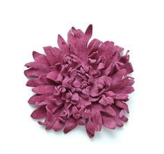 recycled pink leather flower pin brooch