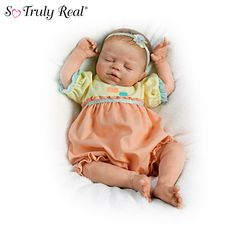 "Baby Of Mine Baby Doll   Violet Parker ""Baby Of Mine"" Lifelike Baby Girl Doll So Truly Real® baby doll by Violet Parker is WEIGHTED and fully poseable. RealTouch vinyl skin, hand-applied hair, darling bubble outfit. Measures 17"" L Price: $129.99 US s&s$14.99 US"