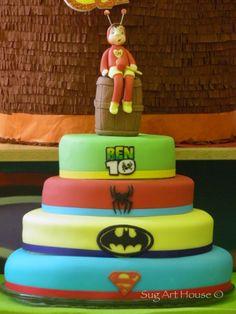 Superheroes fondant cake.  Spider-Man ,Batman, Superman, Ben 10, el Chaplin Colorado Superman, Batman, Ben 10, Fondant, Chocolate Cake, Children, Kids, Colorado, Party Ideas