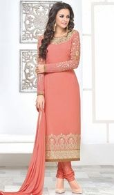 Peach Color Embroidered Georgette Churidar Suit #churidarsuitonlineshopping #longchuridardress Set a new standard in elegance with this peach color embroidered georgette churidar suit. The attractive lace, stones and resham work a substantial attribute of this attire.  USD $ 91 (Around £ 63 & Euro 69)