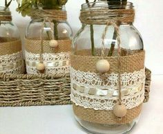 fun and easy arts and crafts Mason Jar Projects, Mason Jar Crafts, Wine Bottle Crafts, Diy Projects, Mason Jars, Bottles And Jars, Glass Jars, Burlap Crafts, Diy And Crafts