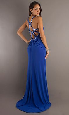 Floor Length Key-Hole Dress by Temptation at SimplyDresses.com