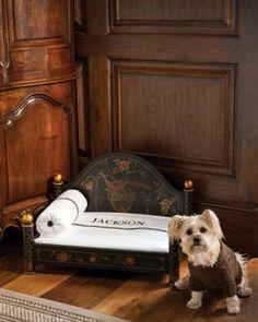 Dog bed w/ monogrammed linens