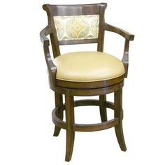 14661 Veranda Upholstered Back Swivel Barstool with Arms (Counter Height)