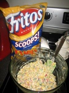 Easy dip: 2 cans mexicorn 1 can hot rotel 2 cups shred cheese onions 1cup mayo 1 cup sour cream.
