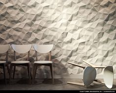 InterlockingRock Panels by ModularArts. Dimensional panels that work together to create continuous, uninterrupted sculptural walls. Joints are steel-reinforced and the panels are cast entirely of mineral for durability, safety, and eco-friendliness.